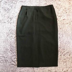 Calvin Klein Black Solid Lined Slit Pencil Skirt